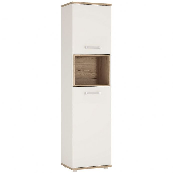 4KIDS 2 door tall narrow cabinet open shelf in light oak and white high gloss